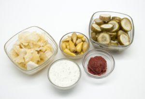 Display of different fermented foods which are good sources of probiotics